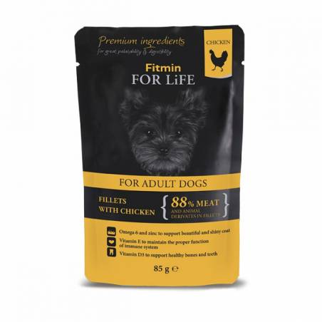 FITMIN dog For Life adult chicken with ham in jelly 85g